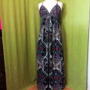 Gorgeous Bengal Colorful Black Halter Maxi Dress L